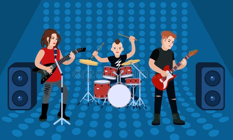 Bannière de concept de bande de groupe de rock, style plat illustration stock