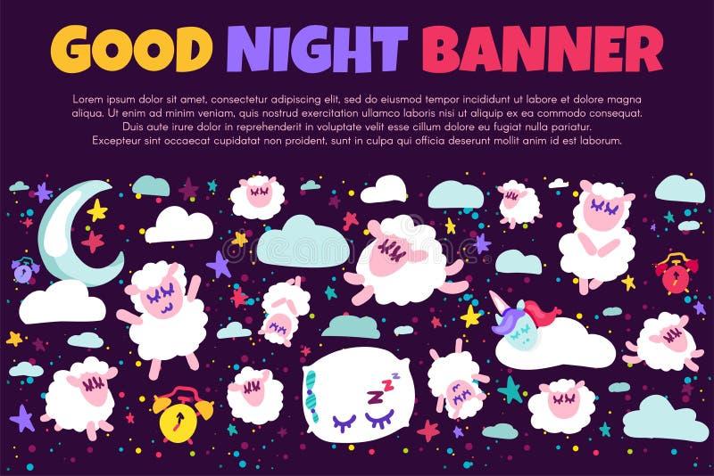 Bannière de concept de bonne nuit de sommeil et de rêves illustration libre de droits