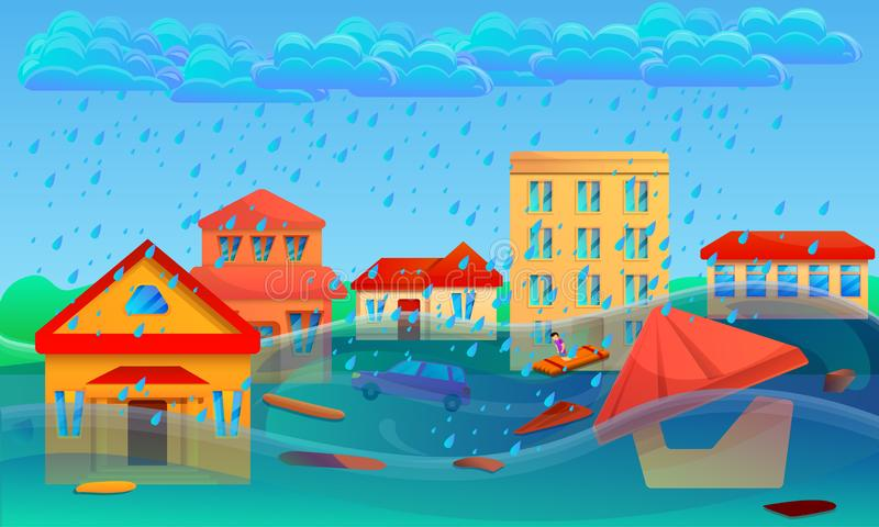 Bannière de concept de cataclysme d'inondation, style de bande dessinée illustration libre de droits
