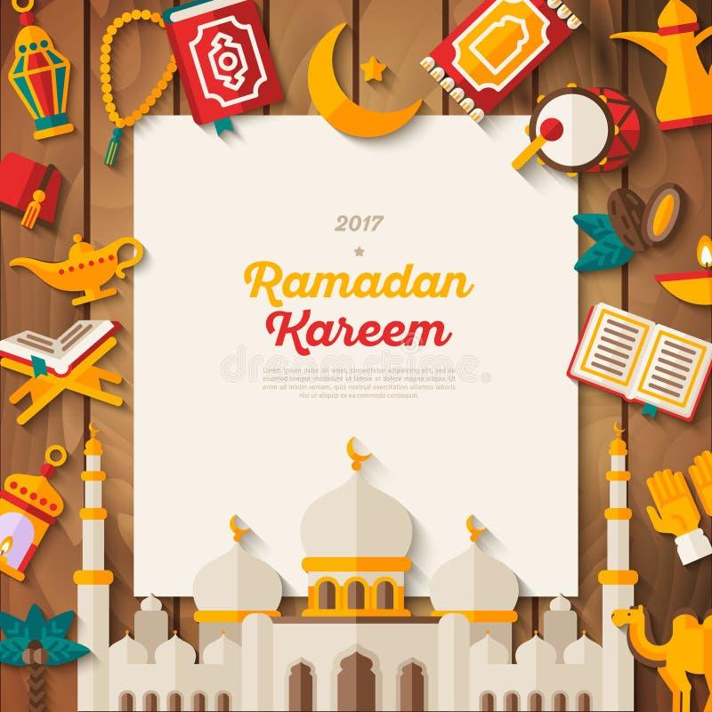 Bannière de concept de Ramadan Kareem sur le bois illustration de vecteur