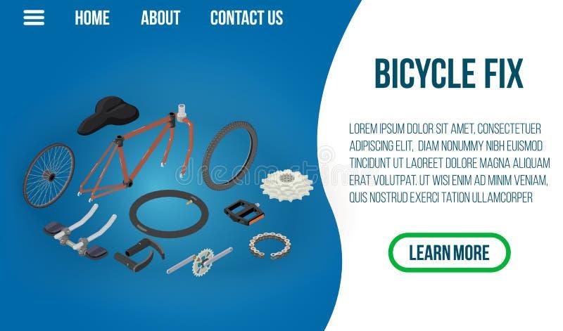 Bannière de concept de difficulté de bicyclette, style isométrique illustration de vecteur
