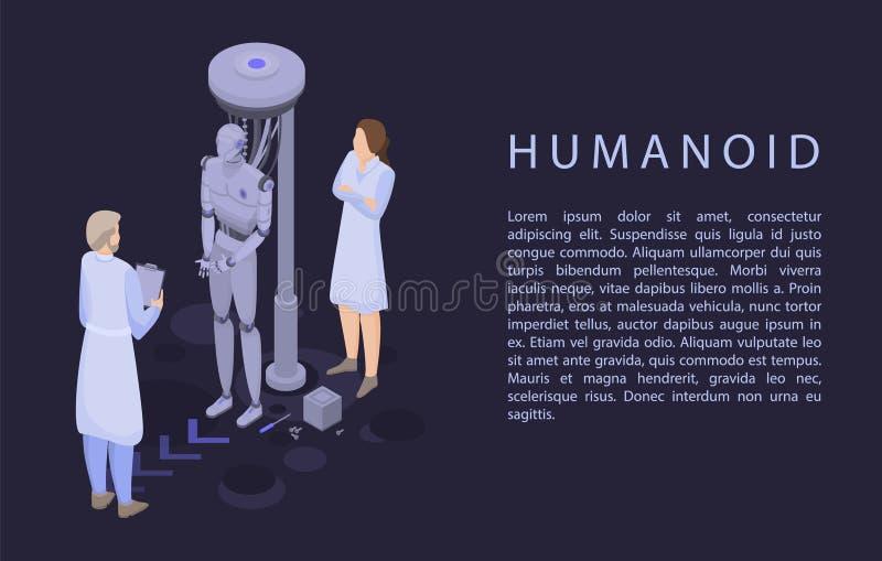 Bannière de concept de humanoïde, style isométrique illustration de vecteur