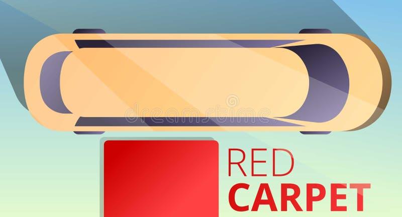 Bannière de concept de limousine de tapis rouge, style de bande dessinée illustration libre de droits