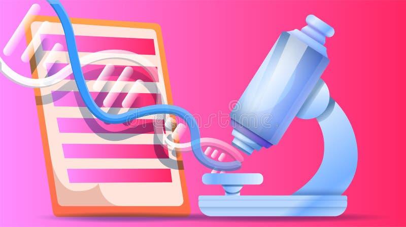 Bannière de concept de microscope d'ADN, style de bande dessinée illustration stock