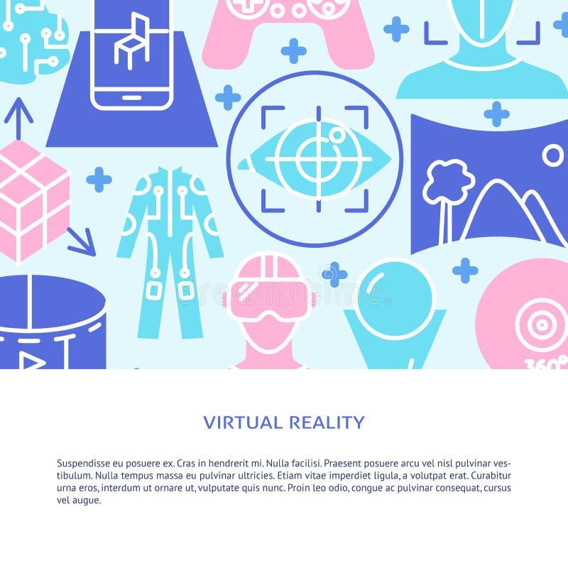 Bannière de concept de réalité virtuelle dans le style plat illustration libre de droits