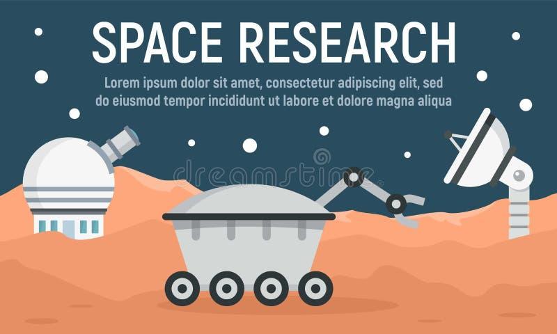 Bannière de concept de recherche spatiale de planète, style plat illustration stock