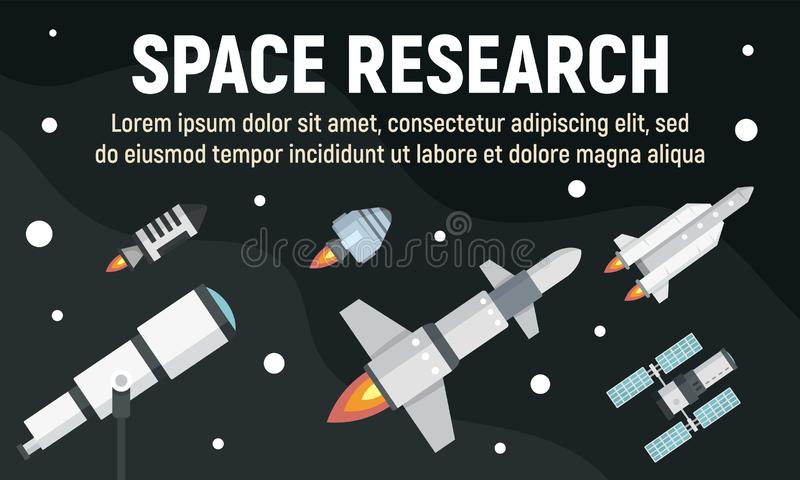 Bannière de concept de recherche spatiale, style plat illustration stock