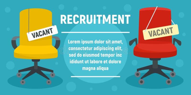 Bannière de concept de recrutement, style plat illustration stock