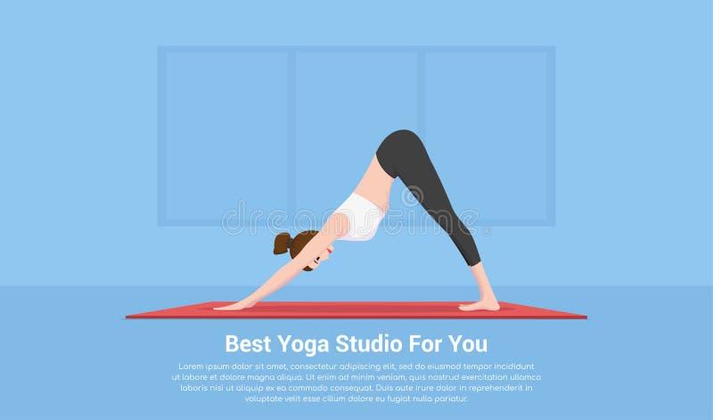 Bannière de concept de studio de yoga illustration libre de droits