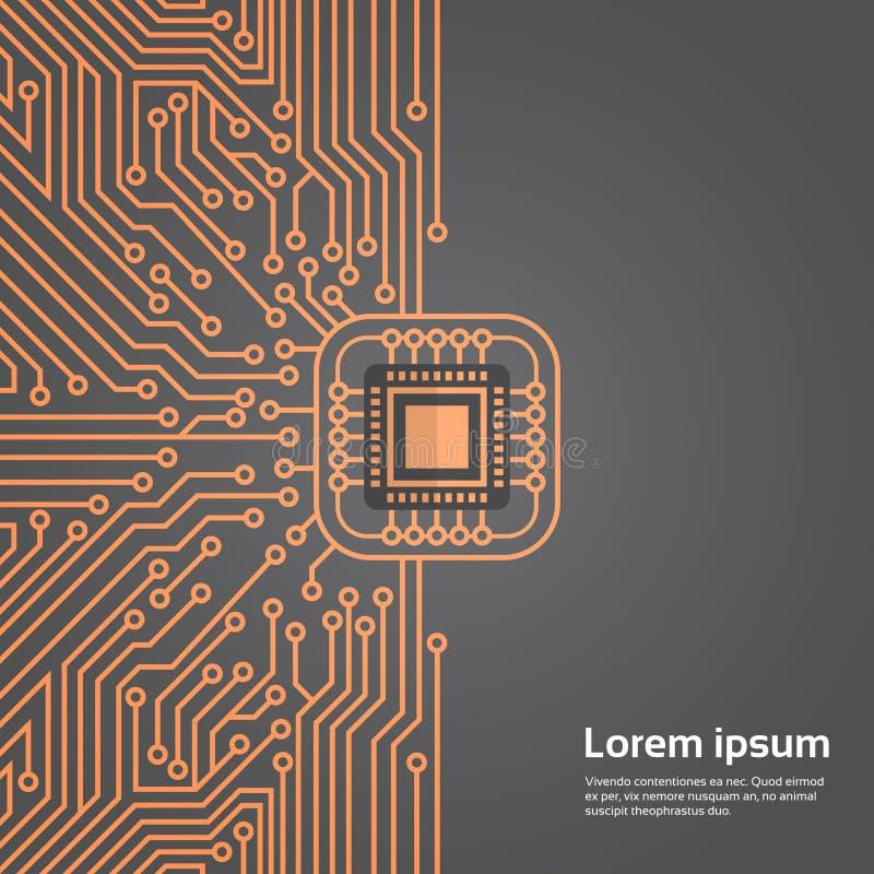 Bannière de concept de système de Chip Moterboard Network Data Center d'ordinateur illustration stock