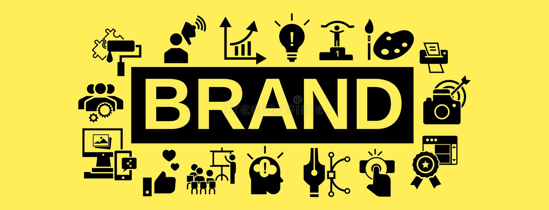 Bannière de concept de travail d'équipe de marque, style simple illustration stock