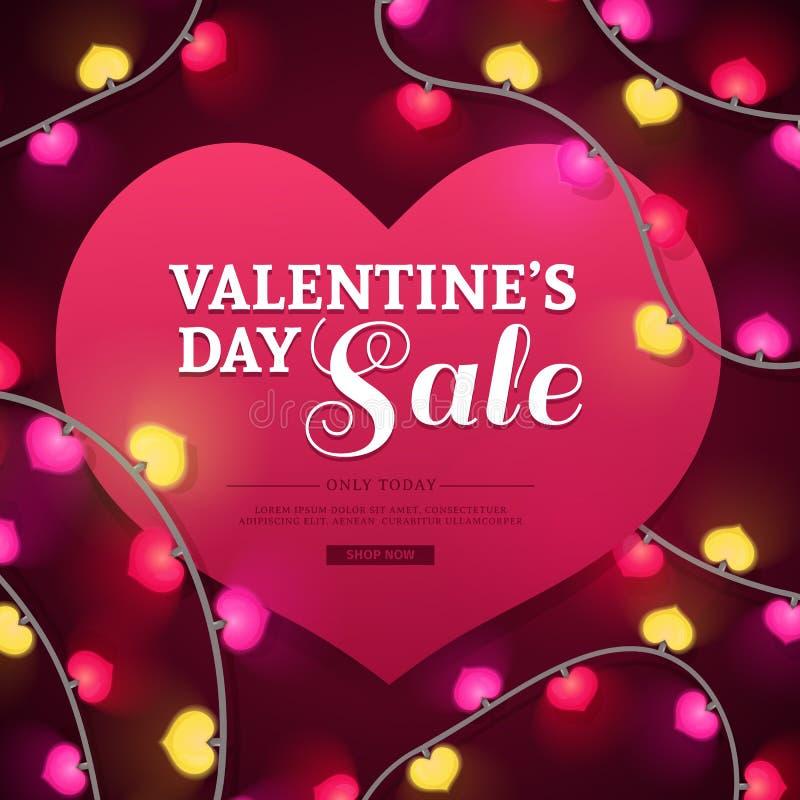 Bannière de conception de calibre pour l'offre de jour du ` s de Valentine Fond de forme de coeur avec la guirlande au néon de dé illustration de vecteur
