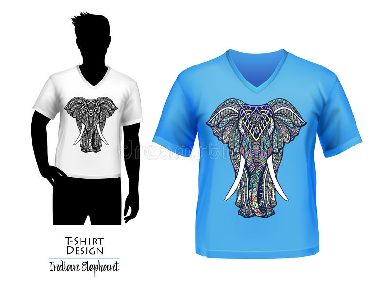 Bannière de conception de T-shirt de griffonnage d'éléphant d'Asie illustration stock