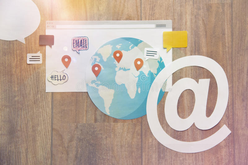 Bannière de contact et de destination image stock