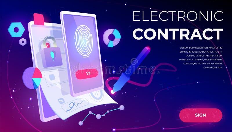 Bannière de contrat électronique, document de signature électronique illustration libre de droits