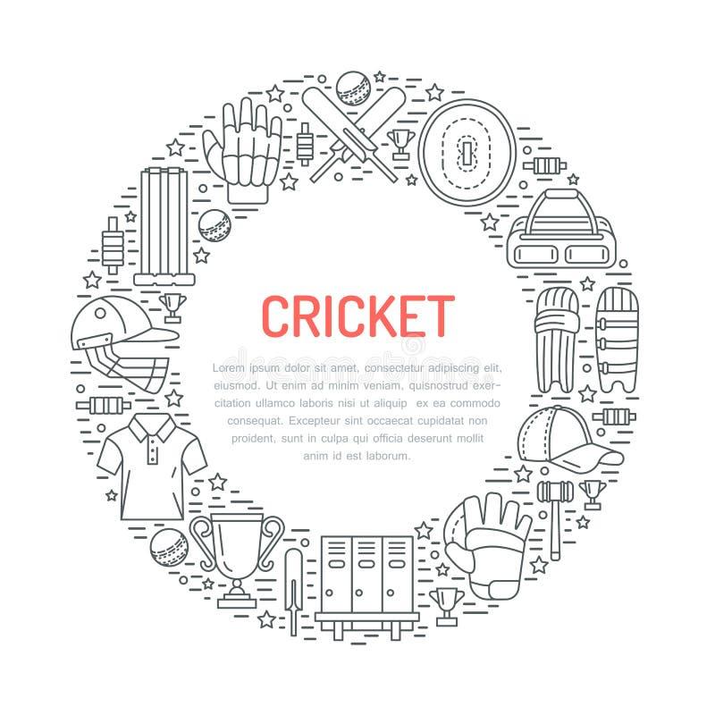 Bannière de cricket avec la ligne icônes de la boule, de la batte, du champ, du guichet, du casque, de l'habillement et de tout a illustration de vecteur