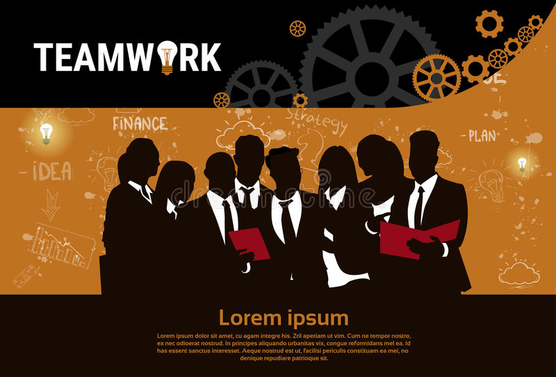 Bannière de démarrage de développement de concept de stratégie de Team Brainstorm Teamwork Business Plan de groupe d'hommes d'aff illustration de vecteur