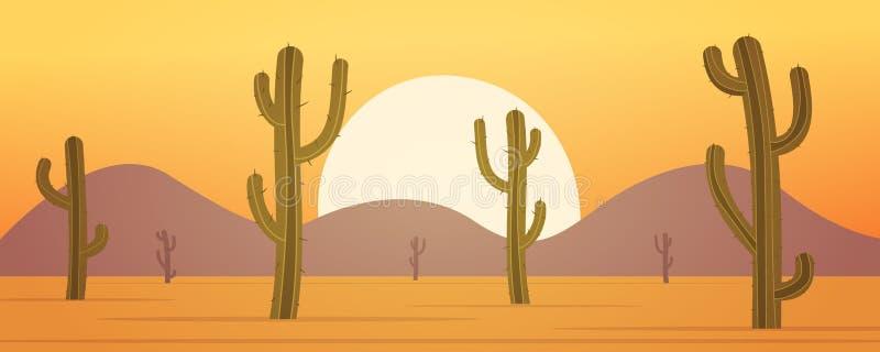 Bannière de désert de bande dessinée illustration stock
