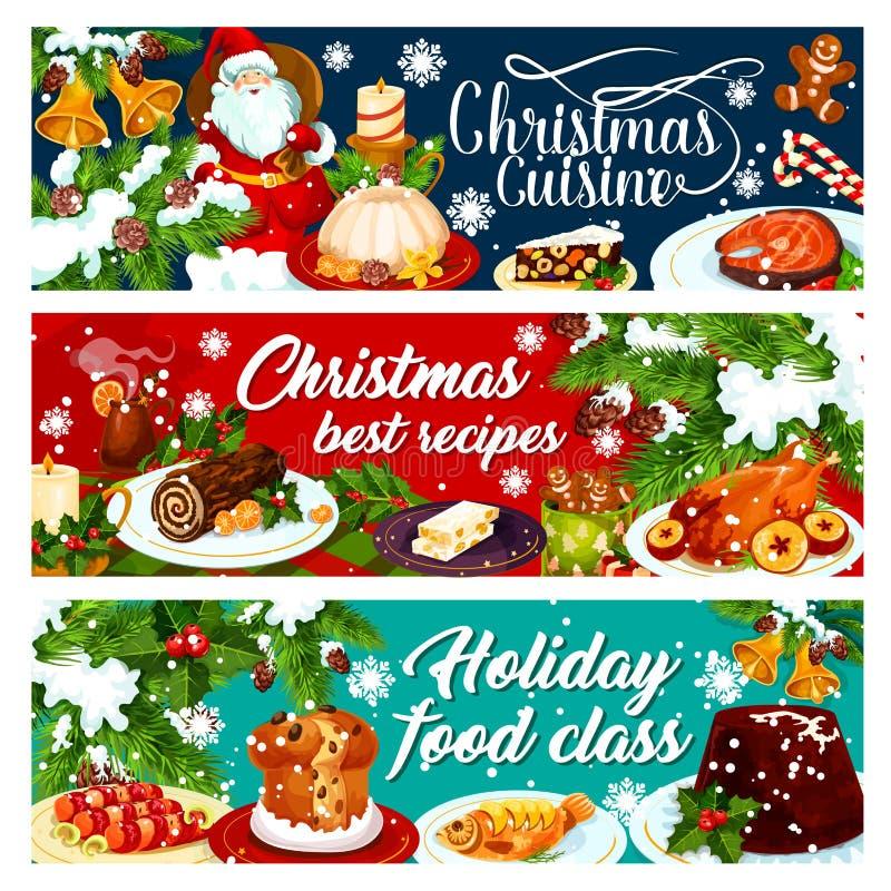 Bannière de dîner de Noël avec la nourriture de vacances d'hiver illustration libre de droits