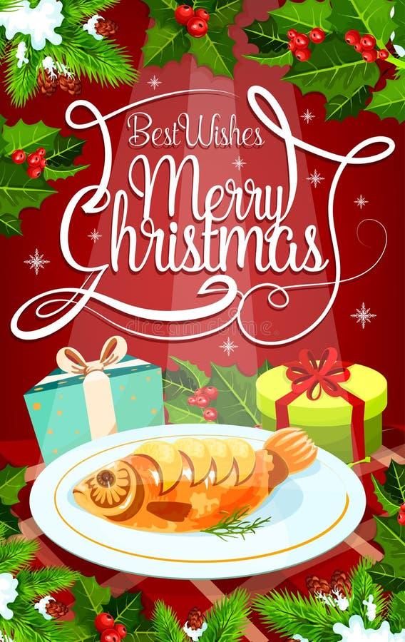 Bannière de dîner de réveillon de Noël avec le cadeau et les poissons illustration stock