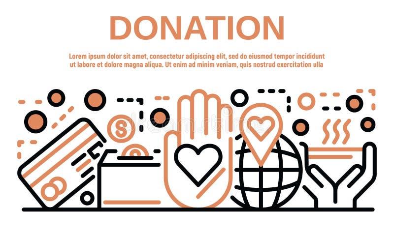 Bannière de donation, style d'ensemble illustration stock