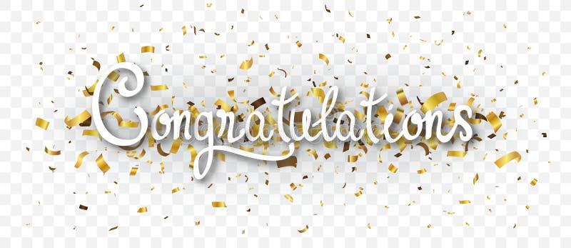 Bannière de félicitations avec des confettis d'or, d'isolement sur le fond transparent illustration libre de droits