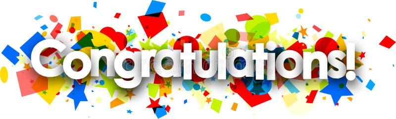 Bannière de félicitations avec les confettis colorés illustration de vecteur
