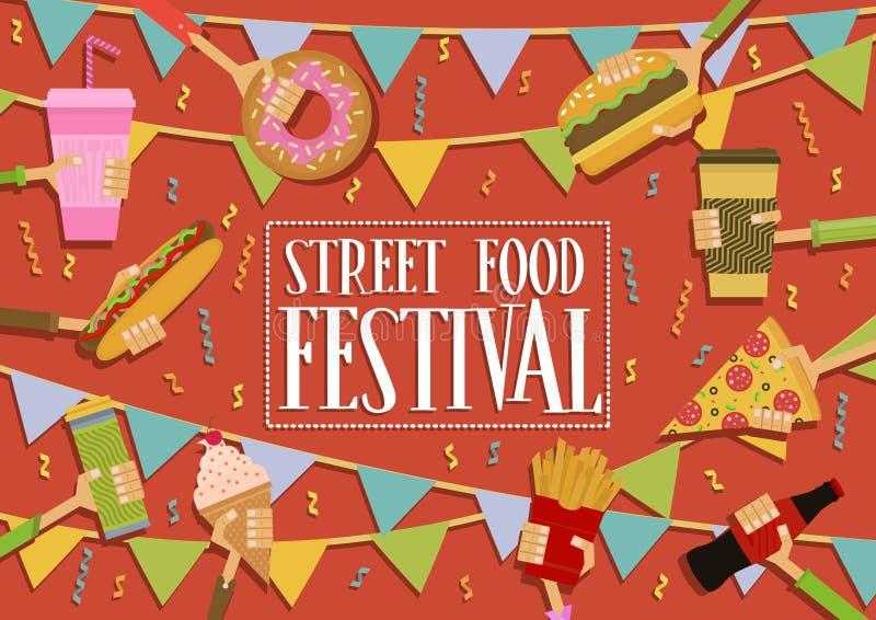 Bannière de festival de nourriture de rue illustration libre de droits