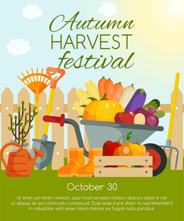 Bannière de festival de récolte d'automne, illustration de vecteur d'affiche Légumes et outils pour faire du jardinage tel que la illustration de vecteur