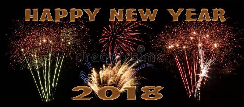 Bannière de feux d'artifice de la bonne année 2018 image stock