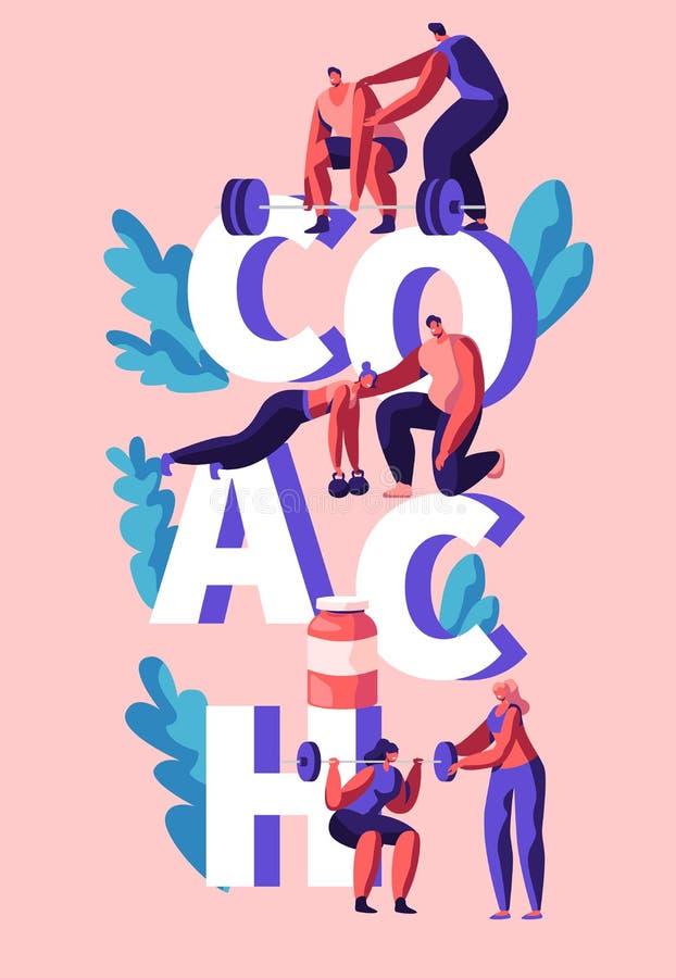 Bannière de Fitness Exercise Vertical d'entraîneur Entraîneur Assistant, formation personnelle pour l'homme et la femme Exercice  illustration de vecteur