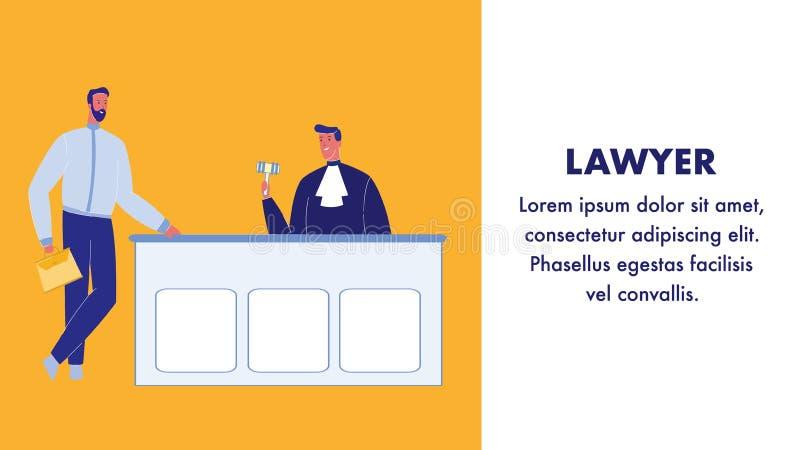 Bannière de Flat Vector Web d'avocat avec l'espace des textes illustration stock