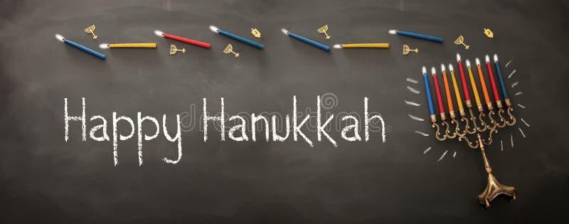 Bannière de fond juif de Hanoucca de vacances avec traditionnel je