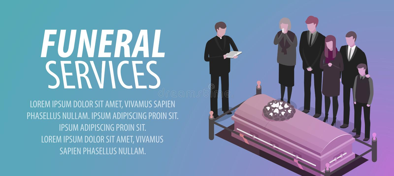Bannière de funérailles Enterrement, cimetière, cimetière, déchirure, concept de la mort Illustration de vecteur illustration de vecteur
