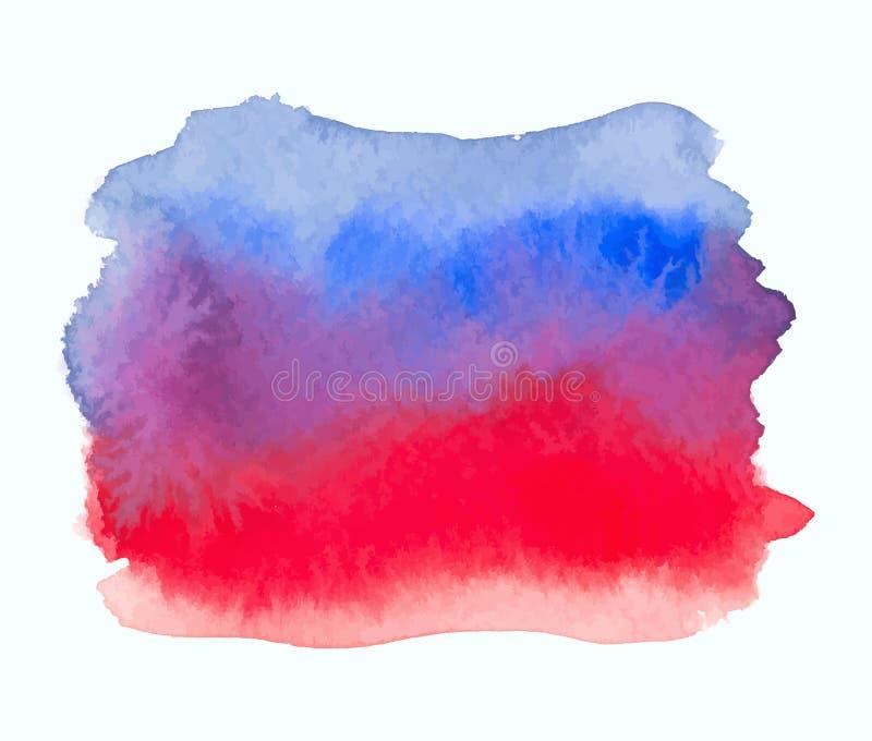 Bannière de gradient d'aquarelle de couleur bleue et rouge illustration de vecteur