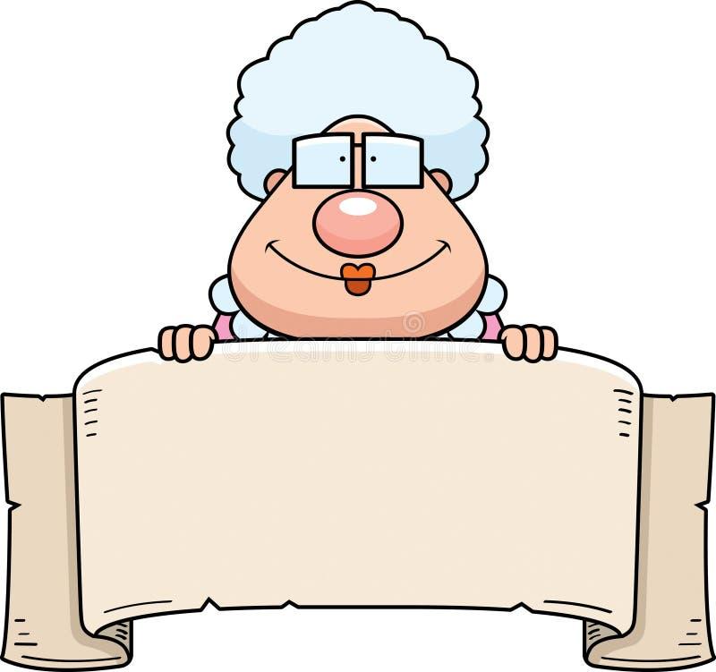 Bannière de grand-maman de bande dessinée illustration stock
