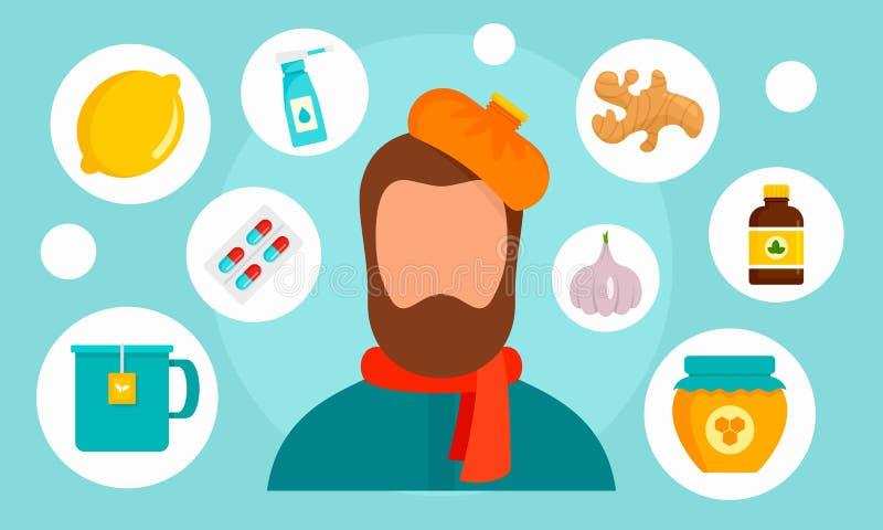 Bannière de grippe d'homme, style plat illustration de vecteur