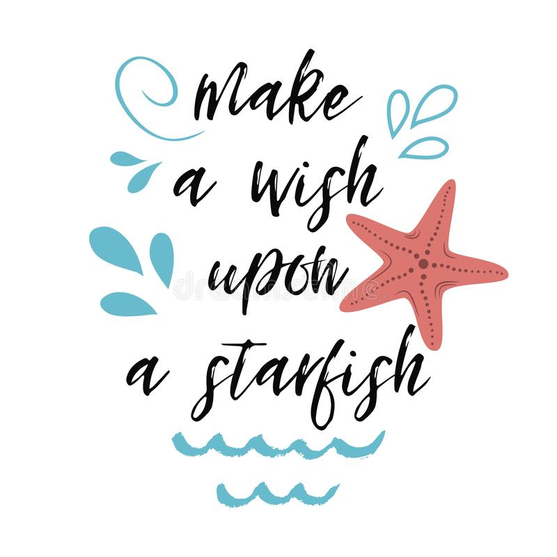 Bannière de inscription tirée par la main de vecteur d'été de plage d'étoile de mer de citation illustration libre de droits