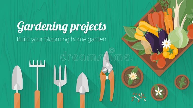 Bannière de jardinage à la maison illustration de vecteur