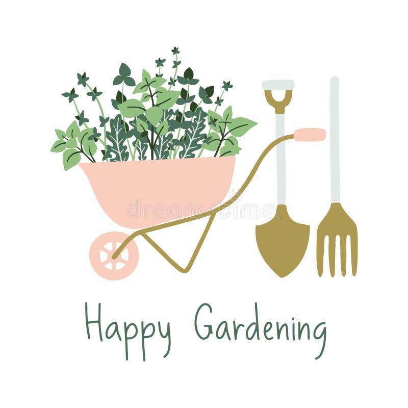 Bannière de jardinage tirée par la main illustration stock