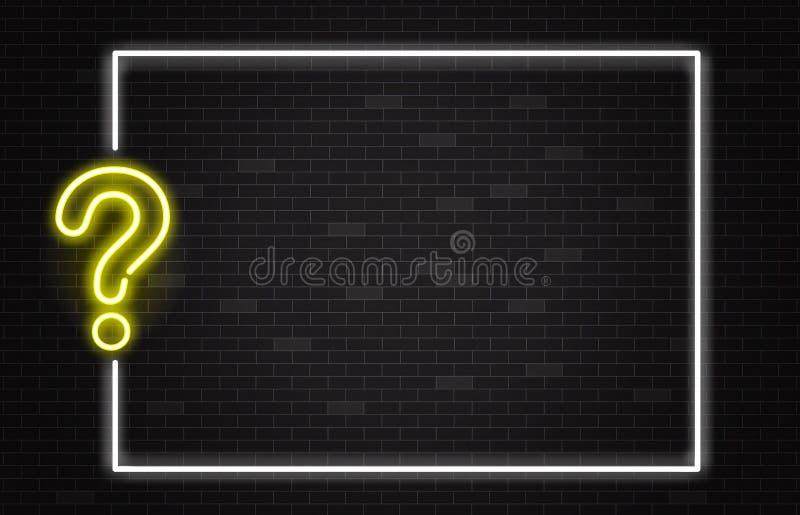 Bannière de jeu-concours avec le point d'interrogation au néon jaune dans le style réaliste sur le fond foncé de mur de briques illustration stock