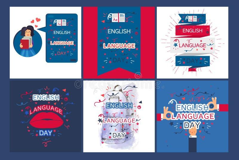Bannière de jour d'anglais illustration libre de droits