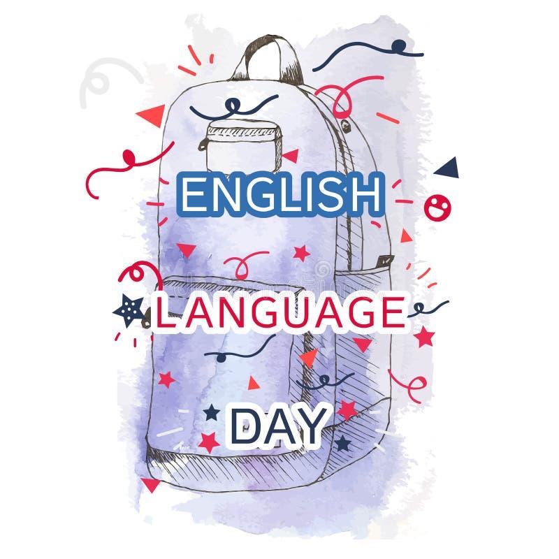 Bannière de jour d'anglais illustration de vecteur
