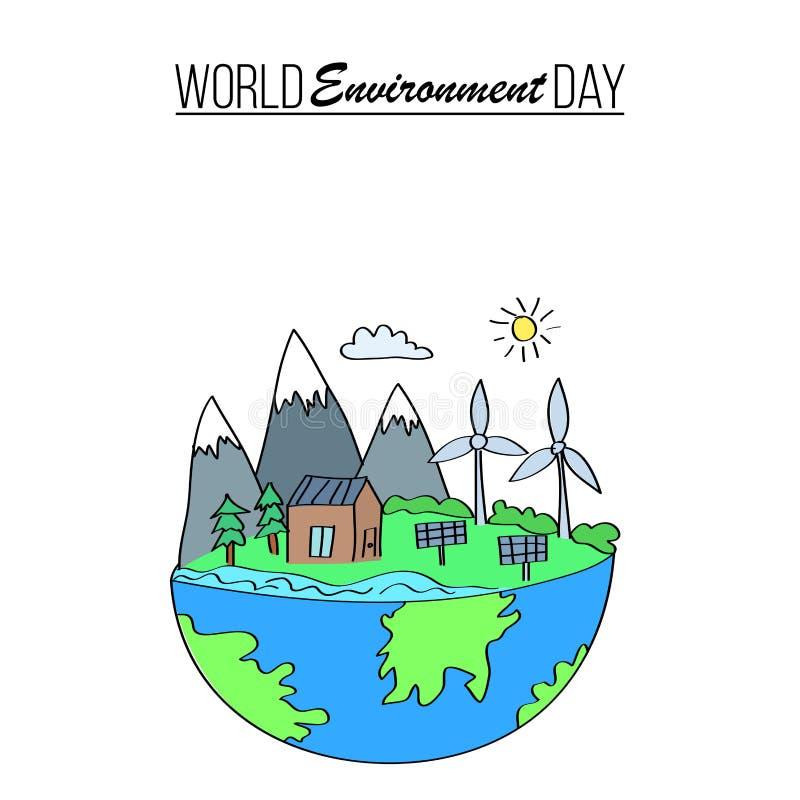 Bannière de jour d'environnement du monde illustration libre de droits