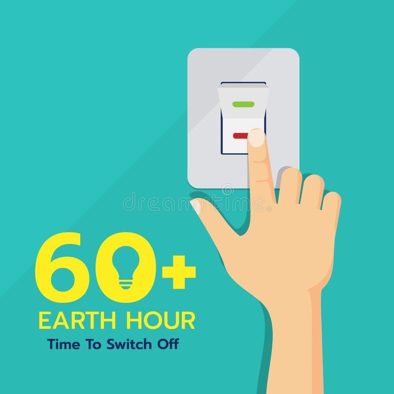 Bannière de jour d'heure de la terre avec de main de contact de commutateur la conception de vecteur  illustration stock