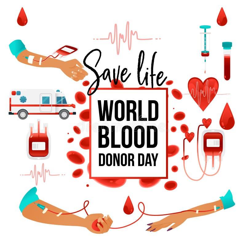 Bannière de jour de donneur de sang du monde avec donner des éléments de charité de sang - signe et symboles de coeur, cellules,  illustration stock