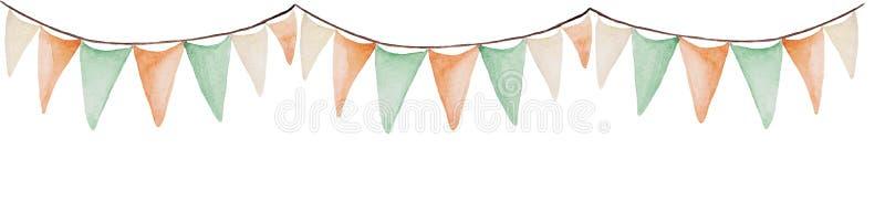 Bannière de jour du ` s de St Patrick d'aquarelle Ornement de drapeaux Pour la conception, la copie ou le fond illustration stock