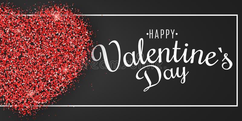 Bannière de jour du ` s de Valentine Coeur des scintillements rouges avec la calligraphie dans le cadre Couverture de fête de Web illustration de vecteur