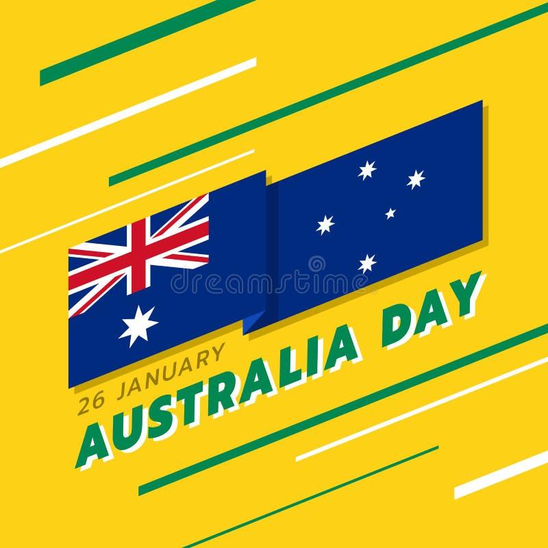 Bannière de jour de l'Australie avec les rayures de drapeau de l'australie ondulant les coins et le texte pointus sur le jaune et illustration de vecteur