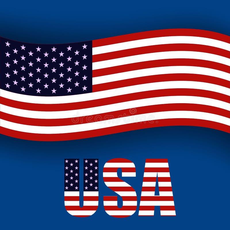 Bannière de Jour de la Déclaration d'Indépendance, quatrièmement de juillet Drapeau américain ondulant sur le fond bleu Vecteur E illustration libre de droits